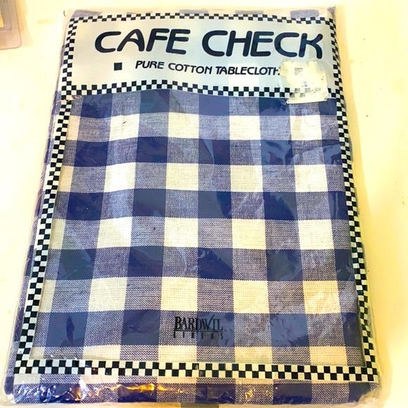 Cafe Check Cotton Navy Gingham Tablecloth